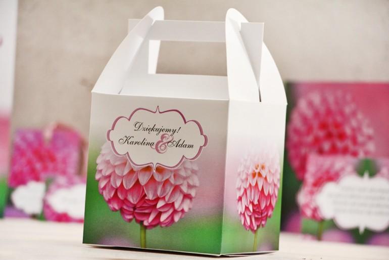 Pudełko na ciasto kwadratowe, tort weselny - Felicja nr 9 - Różowe dalie - kwiatowe dodatki ślubne
