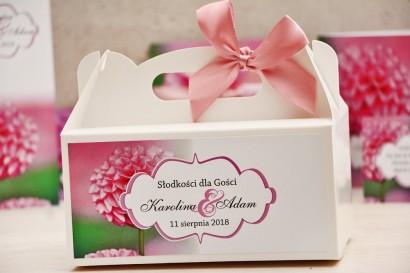 Prostokątne pudełko na ciasto, tort weselny, ślub - Felicja nr 9 - Różowe dalie - kwiatowe dodatki ślubne
