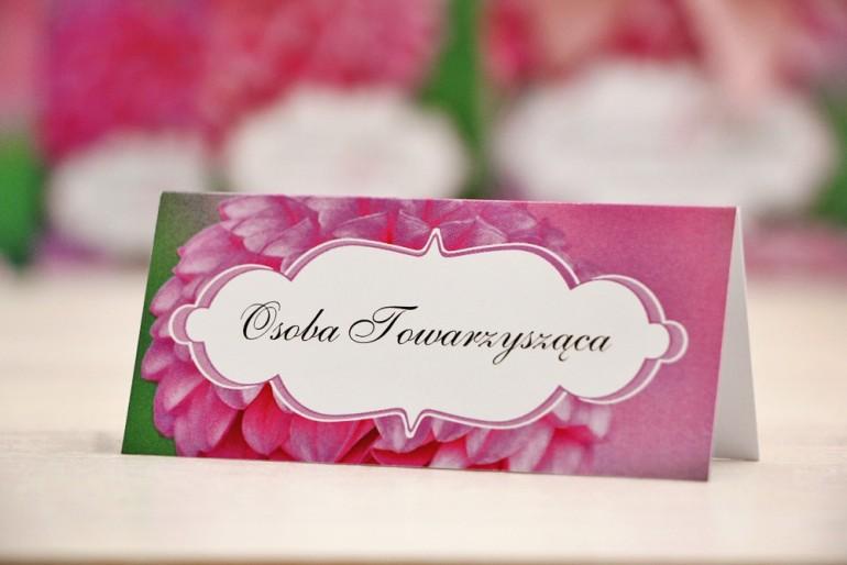 Winietki na stół weselny, ślub - Felicja nr 9 - Różowe dalie - kwiatowe dodatki ślubne