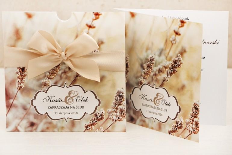 Zaproszenie ślubne, zaproszenia na ślub kwiatowe z kokardą - Felicja nr 10 - Zimowa polna trawa
