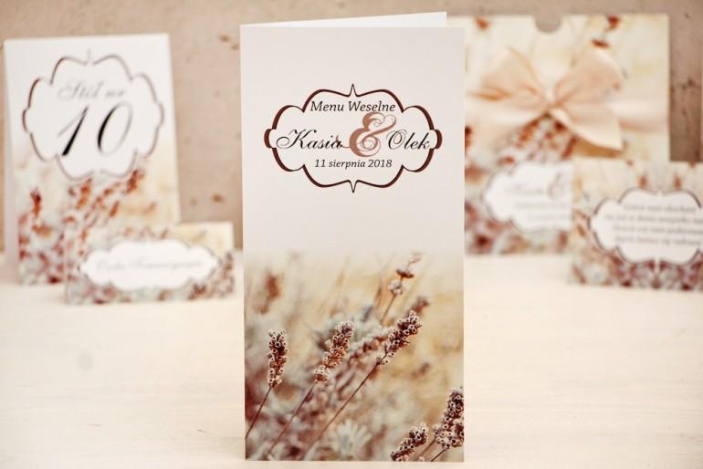 Menu weselne, stół weselny - Felicja nr 10 - Polna trawa - kwiatowe dodatki ślubne