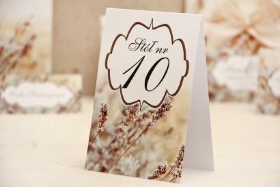 Numery stolików, stół weselny, ślub - Felicja nr 10 - Zimowa łąka, polna trawa - dodatki ślubne
