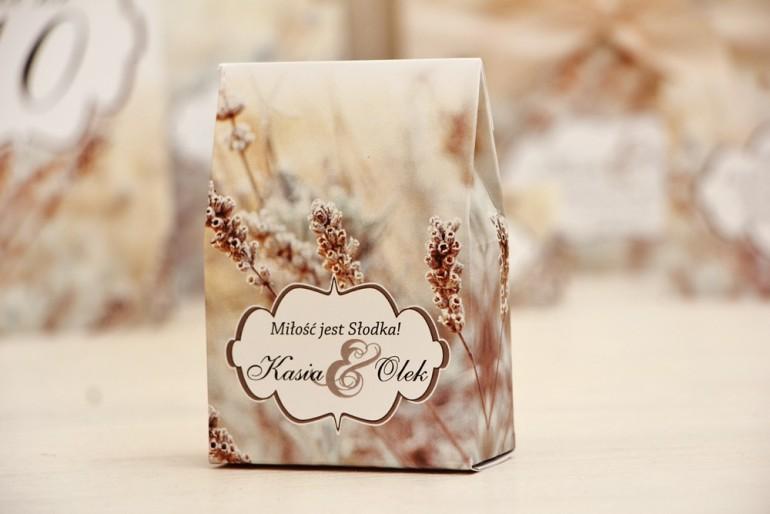 Pudełeczko stojące na cukierki, podziękowania dla Gości weselnych - Felicja nr 10 - Polna trawa - dodatki ślubne