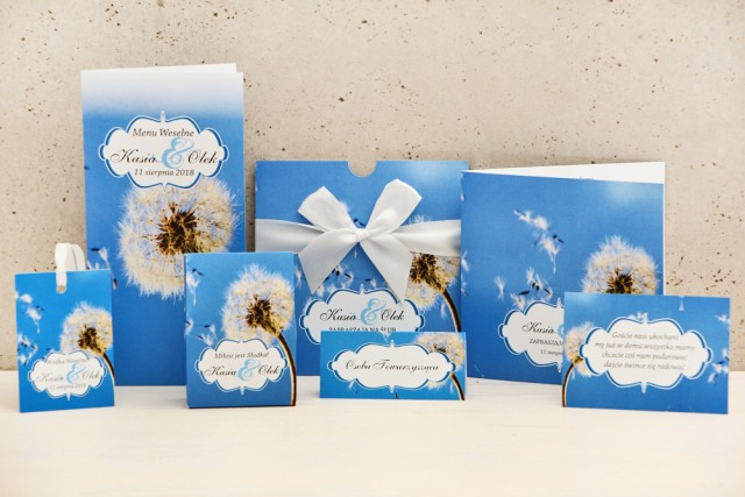 Zaproszenie ślubne z dodatkami - Felicja nr 11 - Dmuchawiec na tle błękitnego nieba