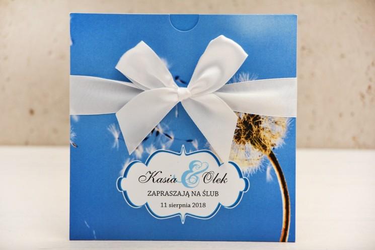 Zaproszenie ślubne, zaproszenia na ślub kwiatowe z kokardą - Felicja nr 11 - Dmuchawiec na tle błękitnego nieba