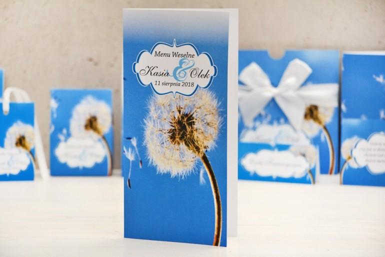 Menu weselne, stół weselny - Felicja nr 11 - Dmuchawiec - kwiatowe dodatki ślubne