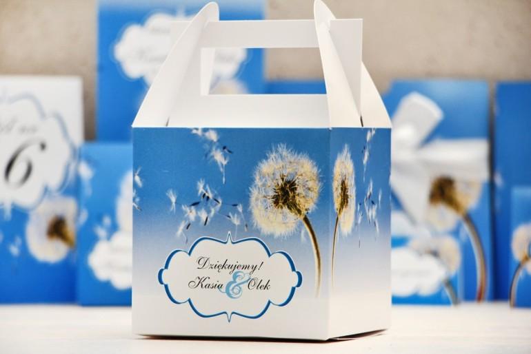Pudełko na ciasto kwadratowe, tort weselny - Felicja nr 11 - Dmuchawce - kwiatowe dodatki ślubne