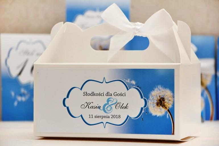 Prostokątne pudełko na ciasto, tort weselny, ślub - Felicja nr 11 - Dmuchawiec - kwiatowe dodatki ślubne