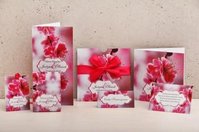 Zaproszenie ślubne z dodatkami - Felicja nr 12 - Intensywnie różowe kwiaty