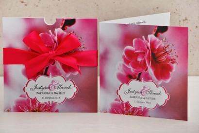 Zaproszenie ślubne, zaproszenia na ślub kwiatowe z kokardą - Felicja nr 12 - Intensywnie różowe kwiaty