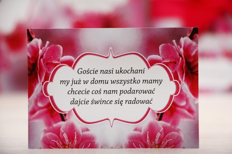 Bilecik prezenty ślubne wesele - Felicja nr 12 - Intensywnie różowe kwiaty - zaproszenia na ślub