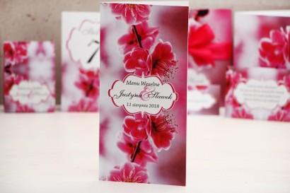 Menu weselne, stół weselny - Felicja nr 12 - Różowe kwiaty wiśni - kwiatowe dodatki ślubne