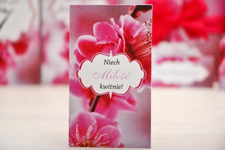 Podziękowania dla Gości weselnych - nasiona Niezapominajki - Felicja nr 12 - Różowe kwiaty wiśni - kwiatowe dodatki ślubne