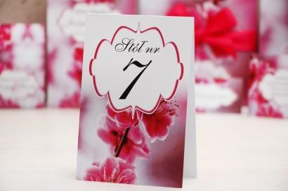 Numery stolików, stół weselny, ślub - Felicja nr 12 - Intensywnie różowe kwiaty