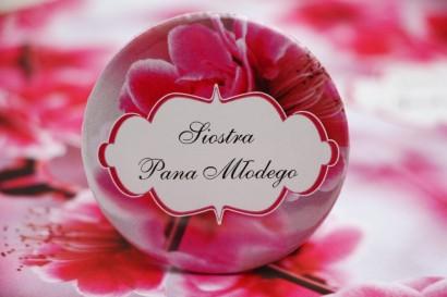 Przypinki dla Gości weselnych, dodatki na wesele, ślub, przypinka - Felicja nr 12 - Różowe kwiaty wiśni