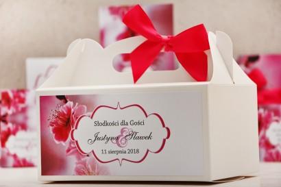 Prostokątne pudełko na ciasto, tort weselny, ślub - Felicja nr 12 - Kwiaty wiśni - kwiatowe dodatki ślubne