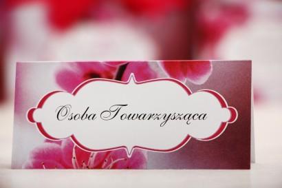 Winietki na stół weselny, ślub - Felicja nr 12 - Różowe kwiaty wiśni - kwiatowe dodatki ślubne