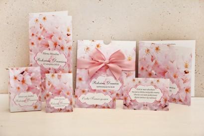 Zaproszenie ślubne z dodatkami - Felicja nr 13 - Delikatne różowe kwiaty wiśni