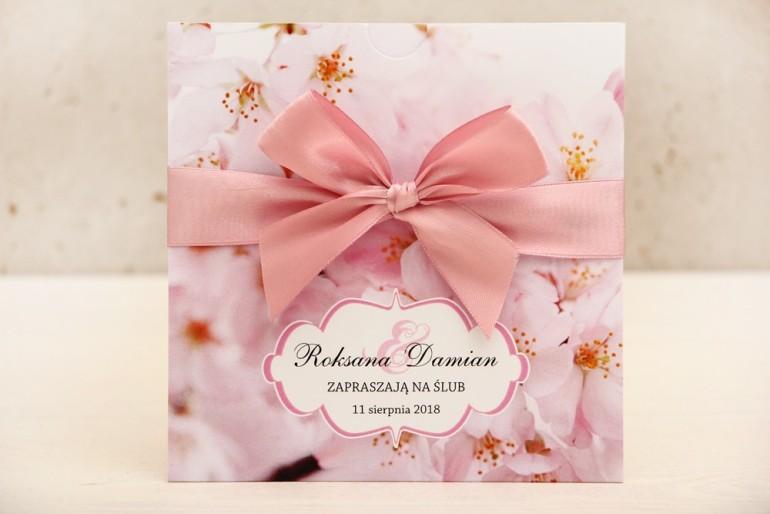 Zaproszenie ślubne, zaproszenia na ślub kwiatowe z kokardą - Felicja nr 13 - Delikatne różowe kwiaty wiśni