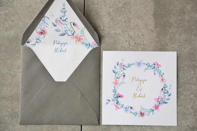 Zaproszenie ślubne z kopertą - Cykade nr 8 ze złoceniem - Delikatne pastelowe fiołki