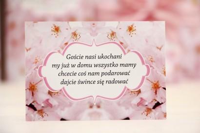 Bilecik prezenty ślubne wesele - Felicja nr 13 - Jasnoróżowe kwiaty wiśni - zaproszenia na ślub