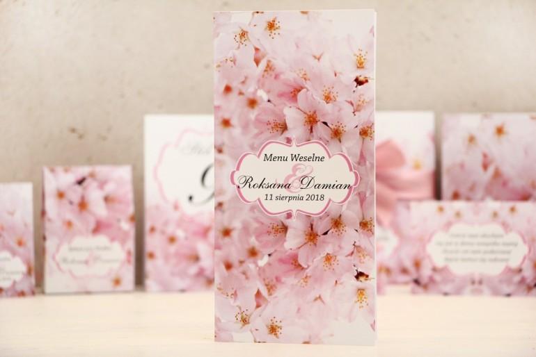 Menu weselne, stół weselny - Felicja nr 13 - Kwiaty wiśni - kwiatowe dodatki ślubne