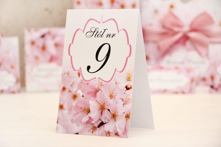 Numery stolików, stół weselny, ślub - Felicja nr 13 - Różowe kwiaty wiśni - dodatki ślubne