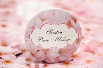 Przypinki dla Gości weselnych, dodatki na wesele, ślub, przypinka - Felicja nr 13 - Jasnoróżowe kwiaty wiśni