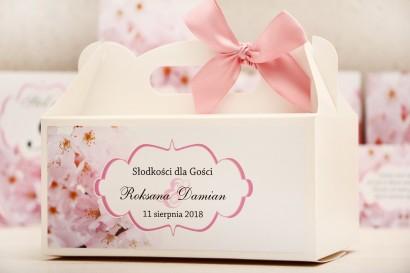 Prostokątne pudełko na ciasto, tort weselny, ślub - Felicja nr 13 - Kwiaty wiśni - kwiatowe dodatki ślubne