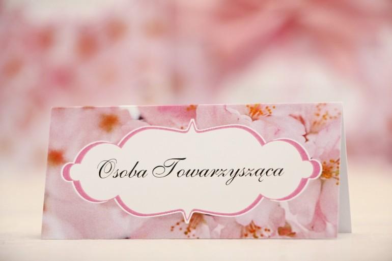 Winietki na stół weselny, ślub - Felicja nr 13 - Jasnoróżowe kwiaty wiśni - kwiatowe dodatki ślubne
