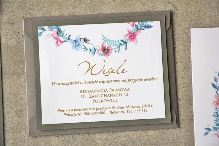 Bilecik dwuwarstwowy prezenty ślubne wesele - Cykade nr 8 ze złoceniem - Pastelowe fiołki