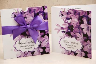Zaproszenie ślubne, zaproszenia na ślub kwiatowe z kokardą - Felicja nr 14 - Fioletowe wiosenne dzwoneczki