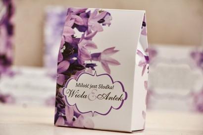 Pudełeczko stojące na cukierki, podziękowania dla Gości weselnych - Felicja nr 14 - Fioletowe dzwonki - dodatki ślubne