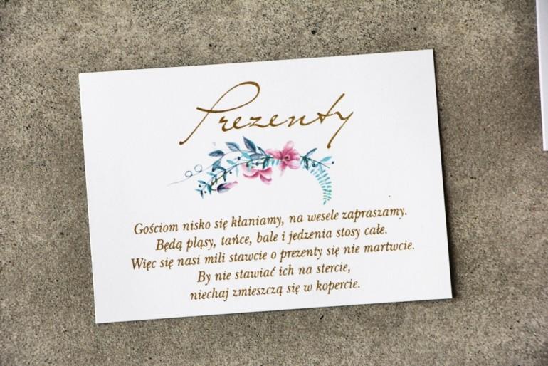 Bilecik prezenty ślubne wesele - Cykade nr 8 ze złoceniem - Pastelowe fiołki