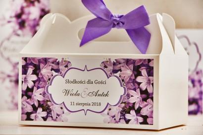 Prostokątne pudełko na ciasto, tort weselny, ślub - Felicja nr 14 - Fioletowe dzwonki - kwiatowe dodatki ślubne