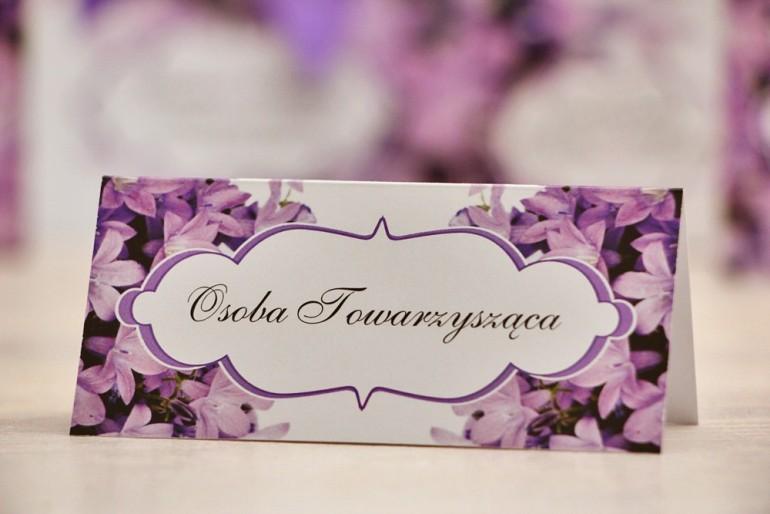 Winietki na stół weselny, ślub - Felicja nr 14 - Fioletowe dzwonki - kwiatowe dodatki ślubne