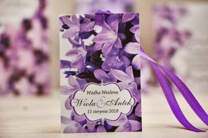 Zawieszka na butelkę, wódka weselna, ślub - Felicja nr 14 - Fioletowe dzwonki - kwiatowe dodatki ślubne