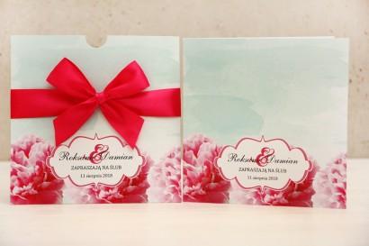 Zaproszenie ślubne, zaproszenia na ślub kwiatowe z kokardą - Felicja nr 15 - intensywny amarant z miętą