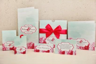 Zaproszenie ślubne z dodatkami - Felicja nr 15 - Intensywny amarant z miętą