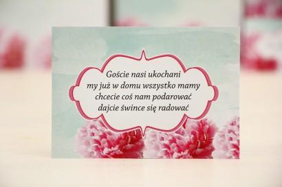 Bilecik prezenty ślubne wesele - Felicja nr 15 - Amarantowe kwiaty na pastelowym miętowym tle - zaproszenia na ślub