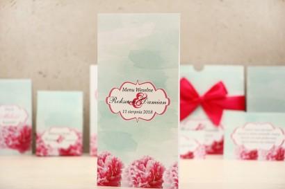 Menu weselne, stół weselny - Felicja nr 15 - Amarantowe kwiaty - kwiatowe dodatki ślubne
