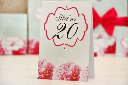 Numery stolików, stół weselny, ślub - Felicja nr 15 - Róż i mięta - dodatki ślubne