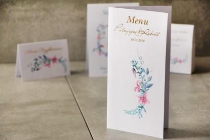 Menu weselne, stół weselny - Cykade nr 8 ze złoceniem - Delikatne pastelowe fiołki