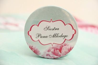 Przypinki dla Gości weselnych, dodatki na wesele, ślub, przypinka - Felicja nr 15 - Różowe kwiaty z miętą