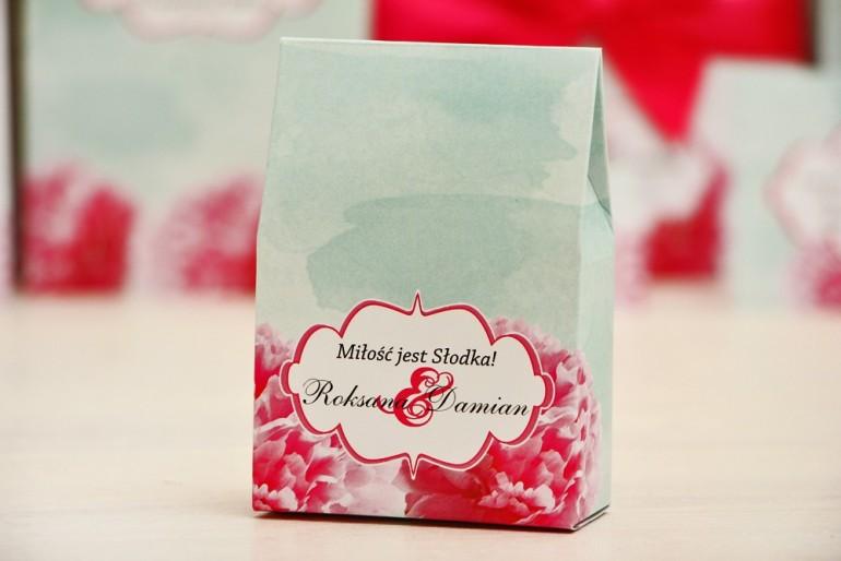 Pudełeczko stojące na cukierki, podziękowania dla Gości weselnych - Felicja nr 15 - Amarantowe kwiaty - dodatki ślubne