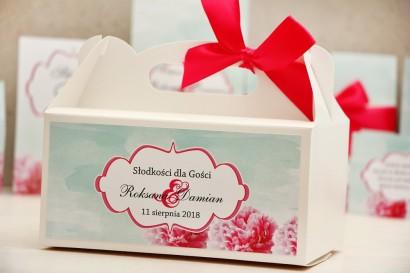 Prostokątne pudełko na ciasto, tort weselny, ślub - Felicja nr 15 - Amarantowo-miętowe - kwiatowe dodatki ślubne