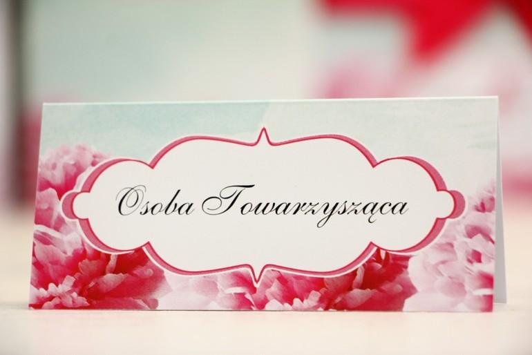 Winietki na stół weselny, ślub - Felicja nr 15 - Amarantowe kwiaty - kwiatowe dodatki ślubne