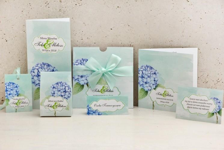 Zaproszenie ślubne z dodatkami weselnymi - Felicja nr 16 - Pastelowy wzór z błękitną hortensją