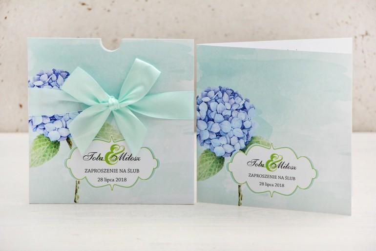 Zaproszenie ślubne, zaproszenia na ślub kwiatowe z kokardą - Felicja nr 16 - Pastelowy wzór z błękitną hortensją
