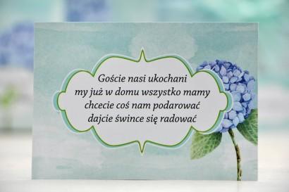 Bilecik prezenty ślubne wesele - Felicja nr 16 - Błękitna hortensja - zaproszenia na ślub
